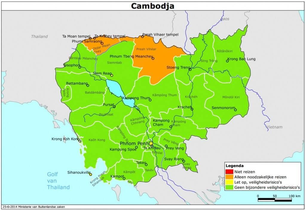 Onveilige gebieden in Cambodja