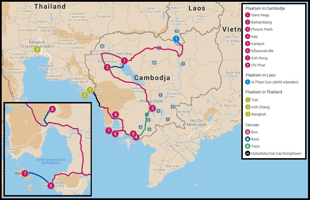 Beste reisroute door Cambodja, drie weken door Cambodja reizen