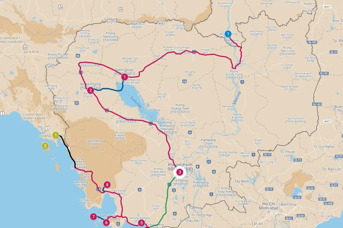 Beste reisroutes door Cambodja