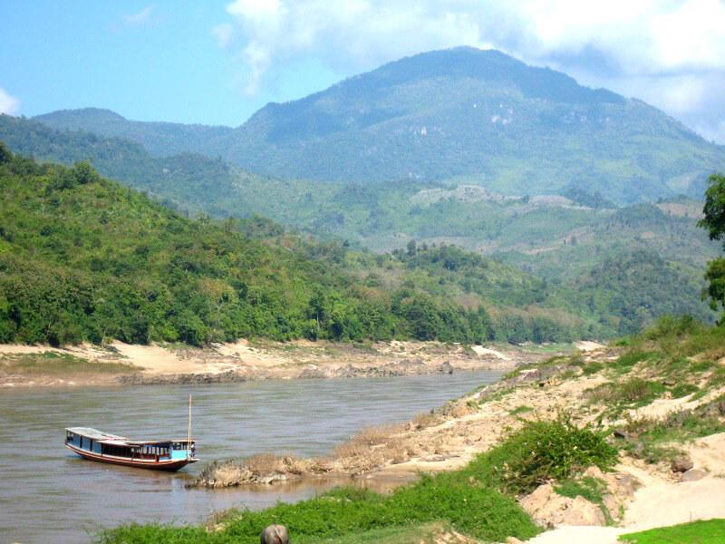 Laos Lage waterstand Mekong rivier