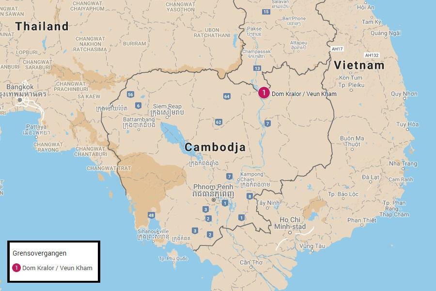 Grensovergangen tussen Cambodja en Laos
