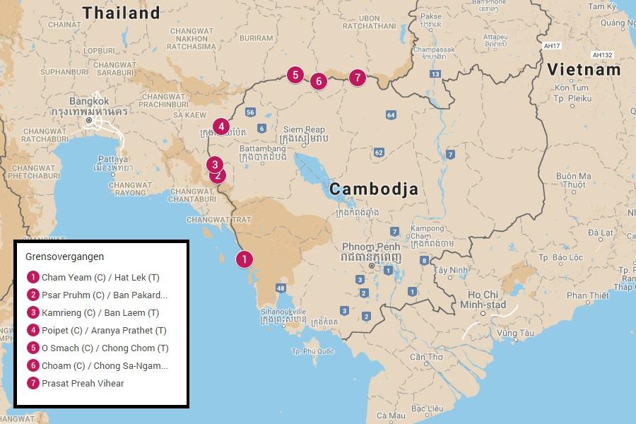 Grensovergangen tussen Cambodja en Thailand