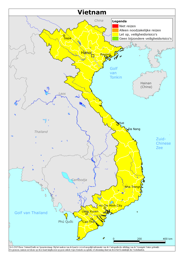 Risicogebieden in Vietnam