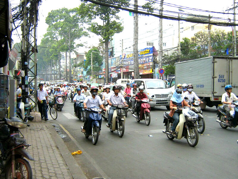 Backpacken Ho Chi Minh stad verkeer