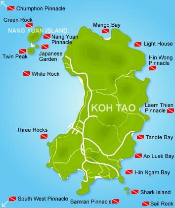 Backpacken Koh Tao kaart