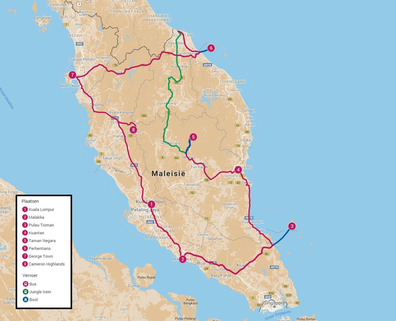 Beste reisroute door Maleisië in drie weken