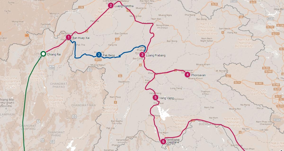 Beste reisroutes door Laos