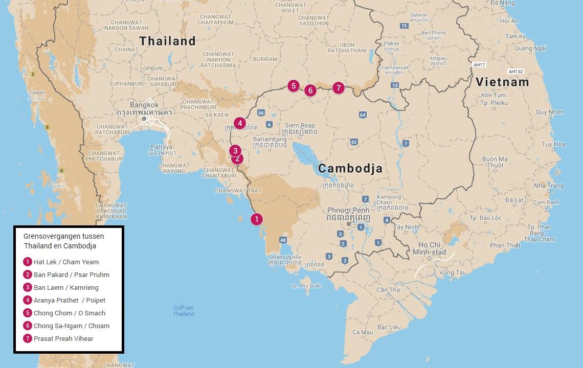 Grensovergangen tussen Thailand en Cambodja