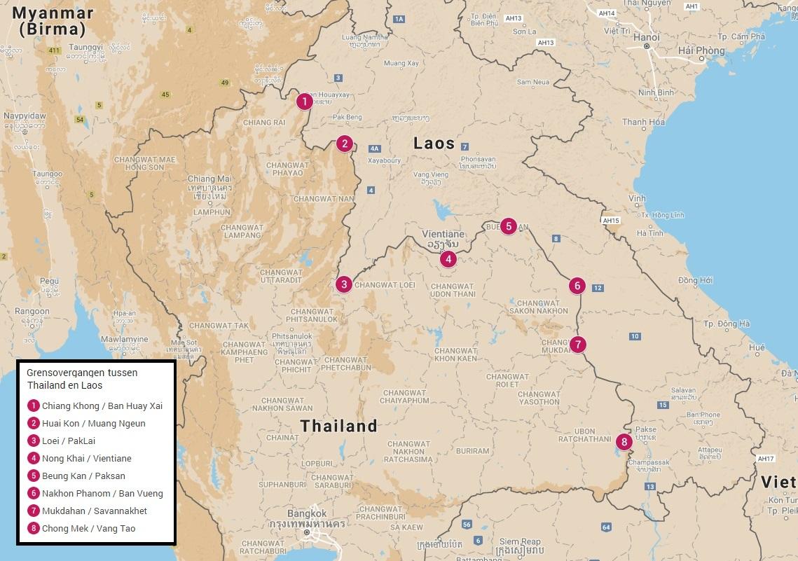 Grensovergangen tussen Thailand en Laos