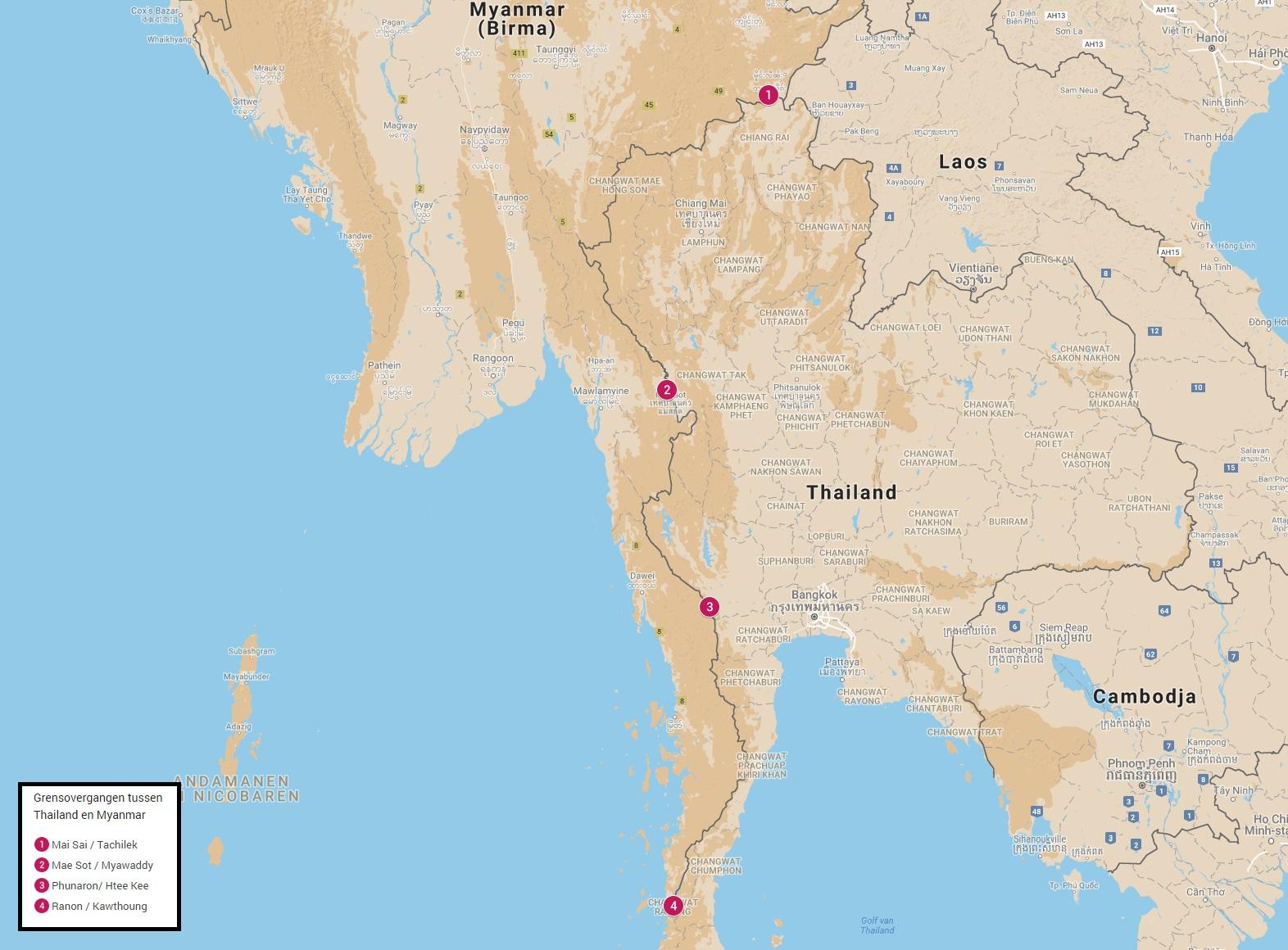 Grensovergangen tussen Thailand en Myanmar