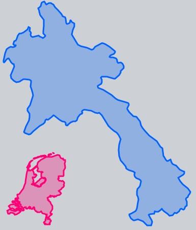 Oppervlakte Laos en Nederland