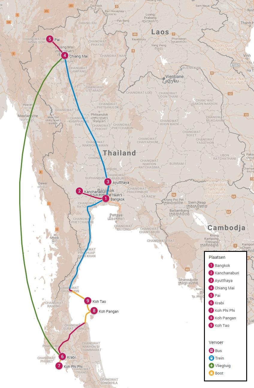 Reisroute door Thailand drie weken