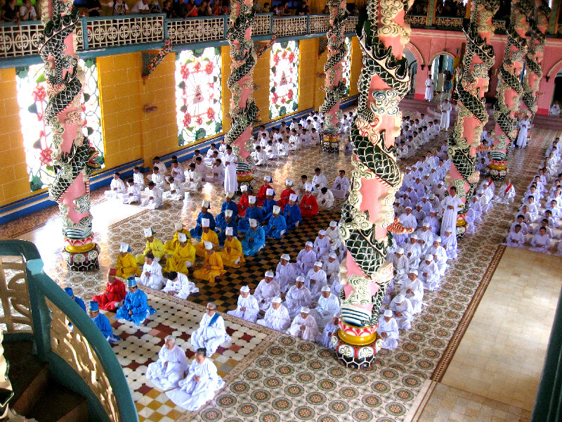 Reistips backpacken Tay Ninh Cao Dai ceremonie