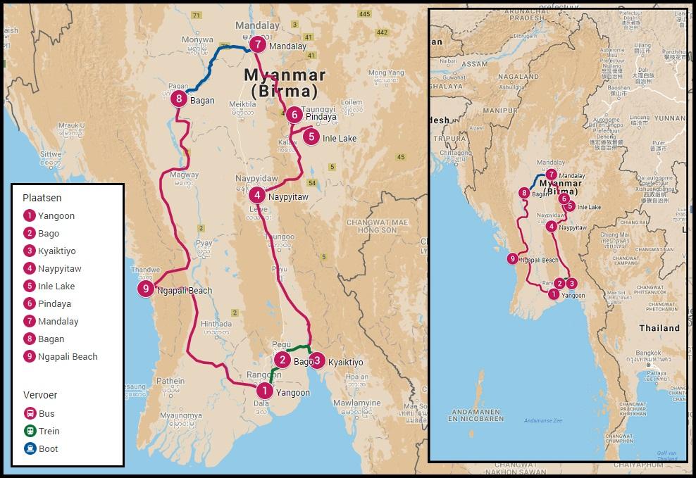 Reisroute door Myanmar 4 weken