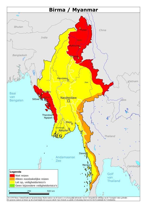 Actueel reisadvies Burma Myanmar