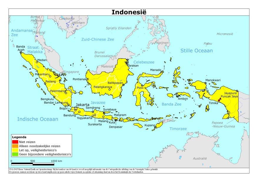Risicogebieden Indonesie