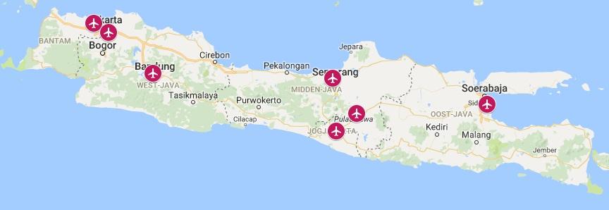 Internationale vliegvelden op Java
