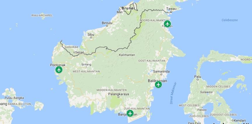 Internationale vliegvelden op Kalimantan