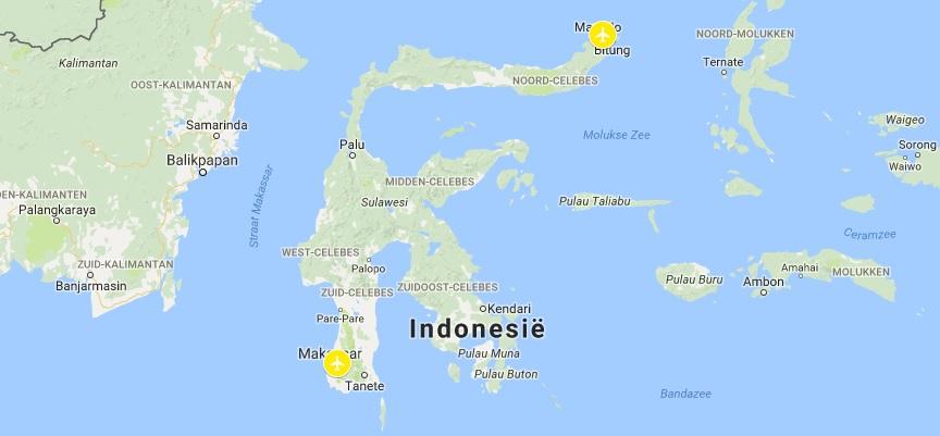 Internationale vliegvelden op Sulawesi