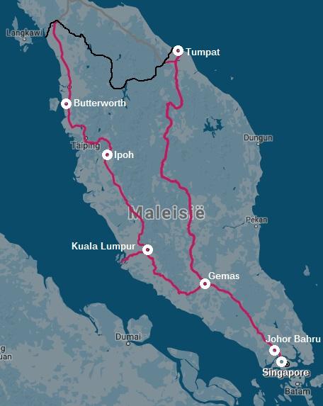 Spoorwegkaart Maleisie treinverbindingen