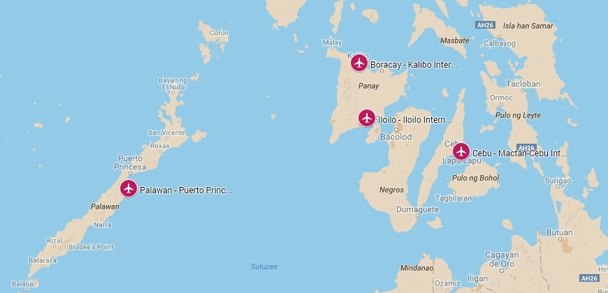 Internationale vliegvelden op de Visayas eilanden