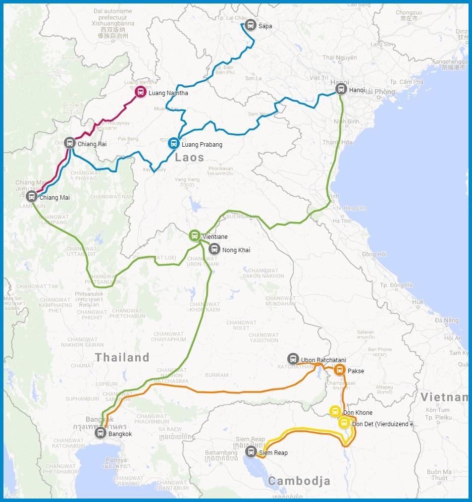 Online bustickets voor internationale-busverbindingen in Laos busroutes