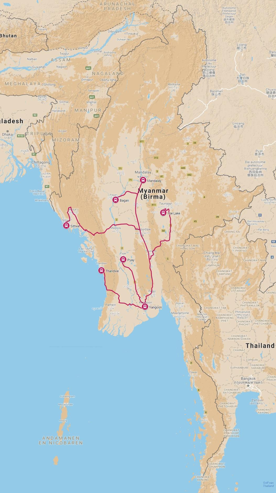 Overzicht kaart online busroutes Myanmar busverbindingen