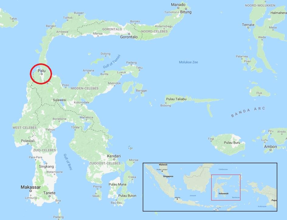 Locatie aardbeving Sulawesi tsunami Palu Indonesie