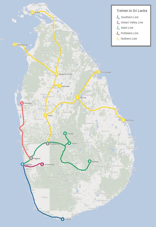 Spoorweg netwerk Sri Lanka